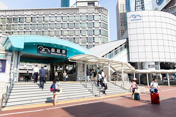 Exterior of the station from the exit of JR Shimbashi Station